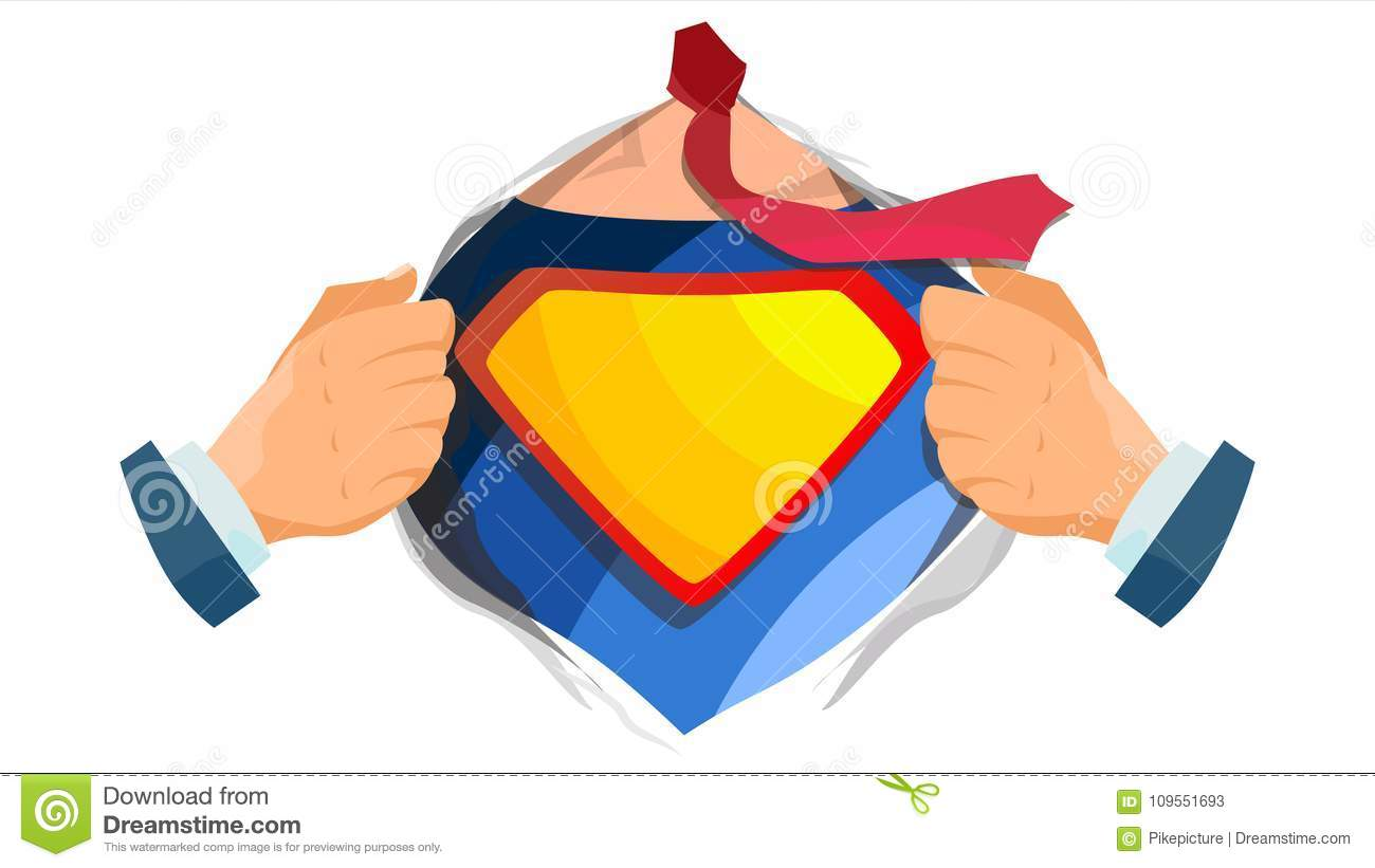 Superhero Sign Vector. Super Hero Open Shirt With Shield Badge. Place For Text. Isolated Flat Cartoon Comic Illustration