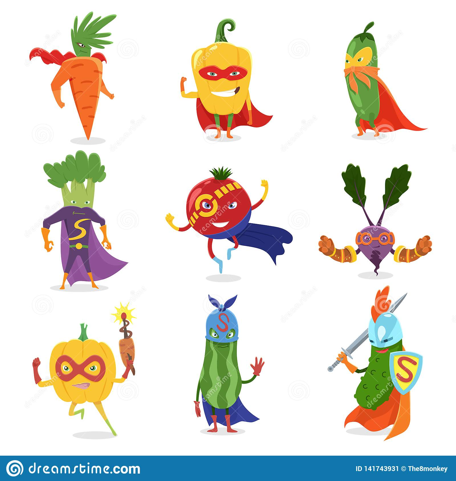 Superhero Vegetables In Masks And Capes Set Of Cute Childish Cartoon Humanized Characters In Costumes. Useful vitamins