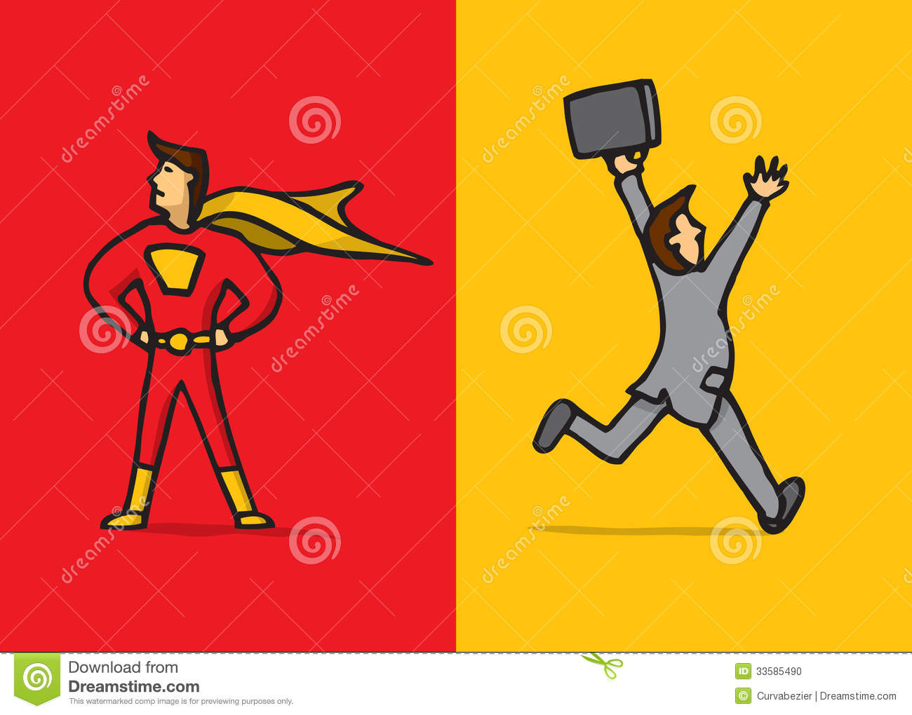 superhero versus coward stock illustration  illustration of brave