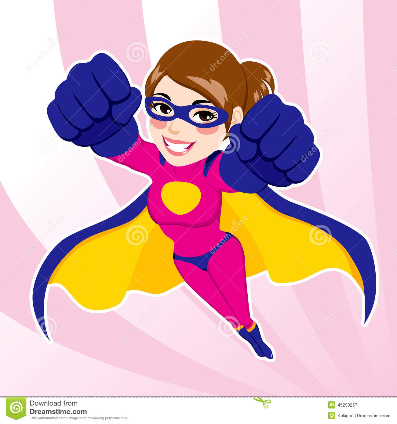Illustration of sexy beautiful fit woman in superhero costume flying.