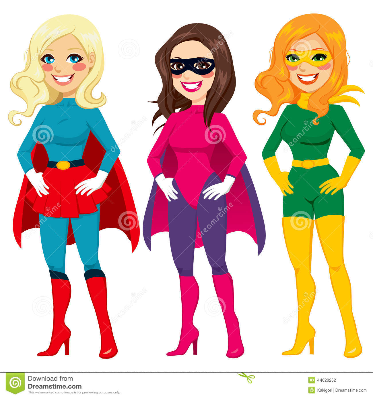 ... different women posing in superhero outfit ready for Halloween party