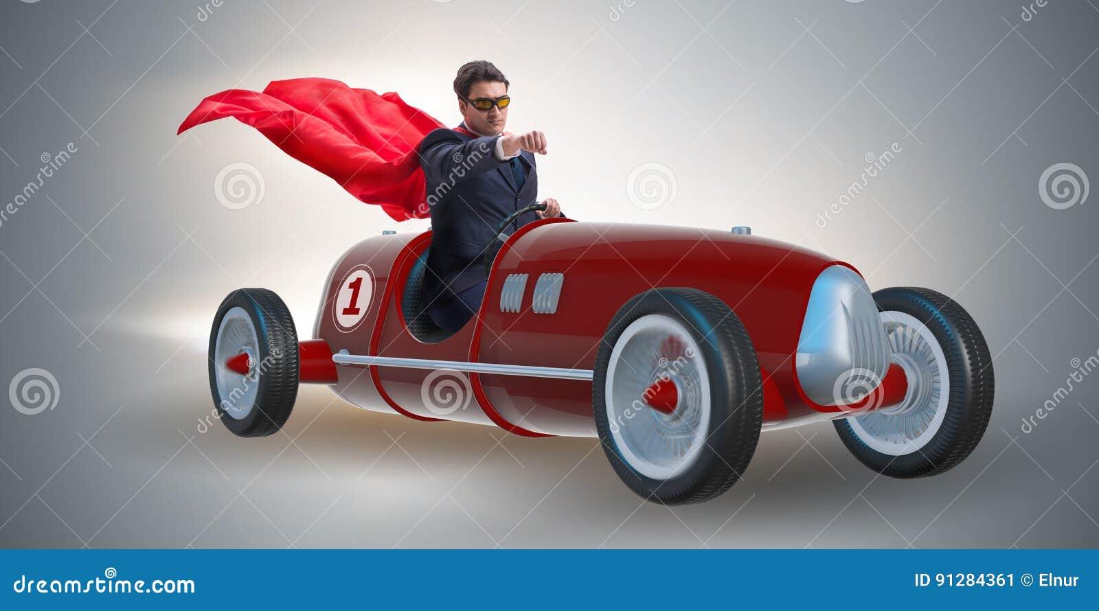 Superheroaffärsmannen som kör tappningroadster