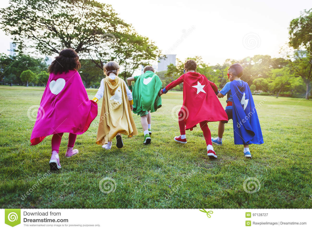 Superheroes Cheerful Kids Expressing Positivity