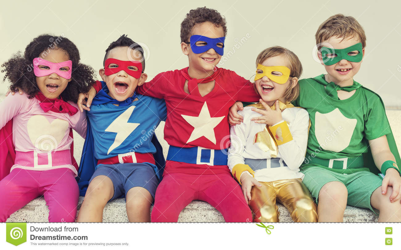 Superheroes Kids Friends Playing Togetherness Fun Concept ...