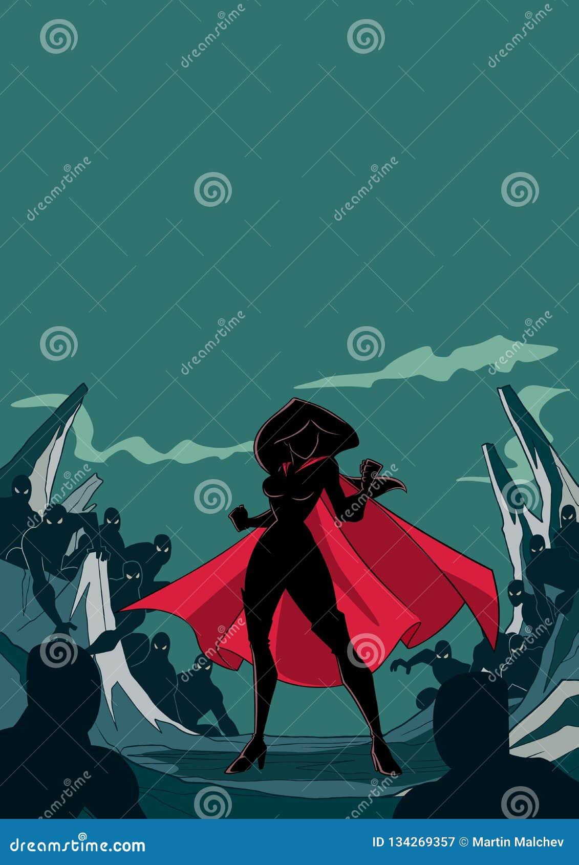 Superheroine Klaar voor Slagsilhouet