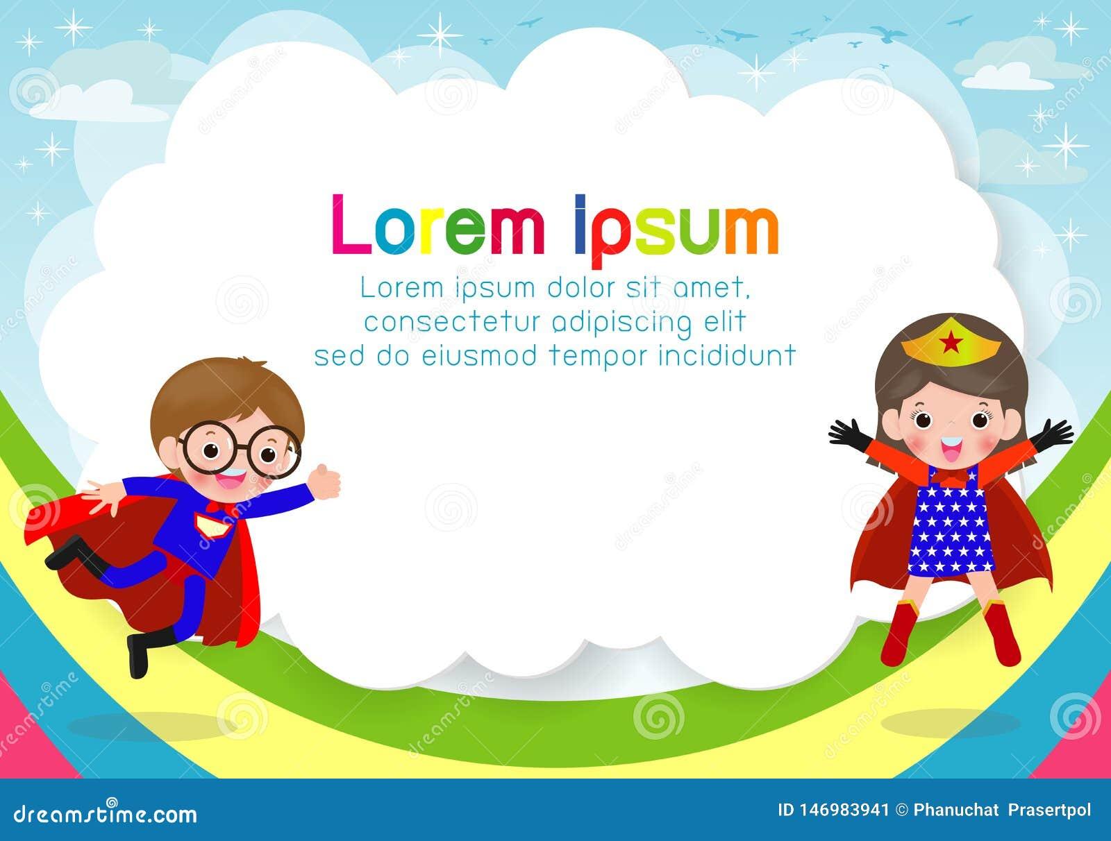 Superherounge p? bakgrund, mall f?r annonsering av broschyren, din text, gulliga sm? Superherobarn, ungar och ram