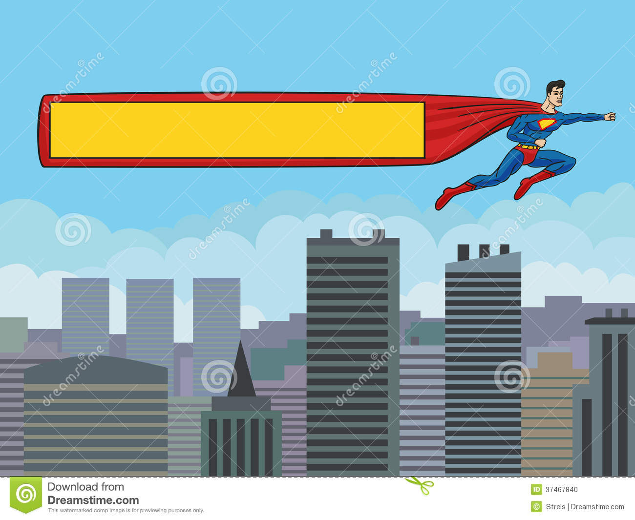 3d small people as super hero stock image image 29971731 - Superman With A Banner Over The City Stock Photo