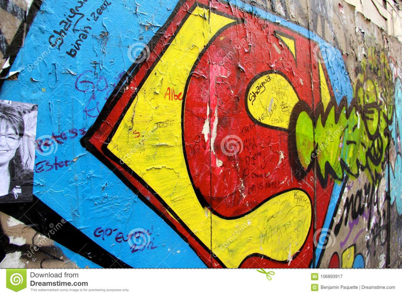 Superman Graffiti On A Wall In Paris France Editorial Photography ...