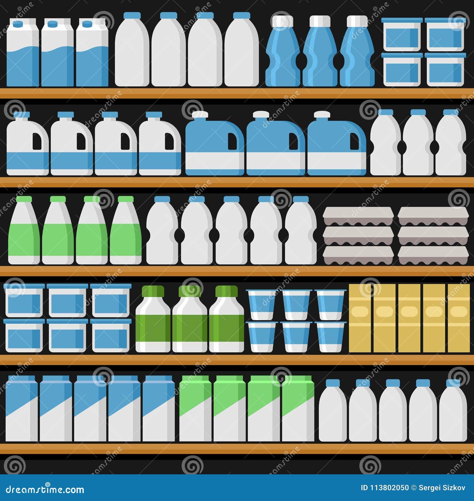 Supermarché Shelfs rayonne avec des produits et des boissons Vecteur