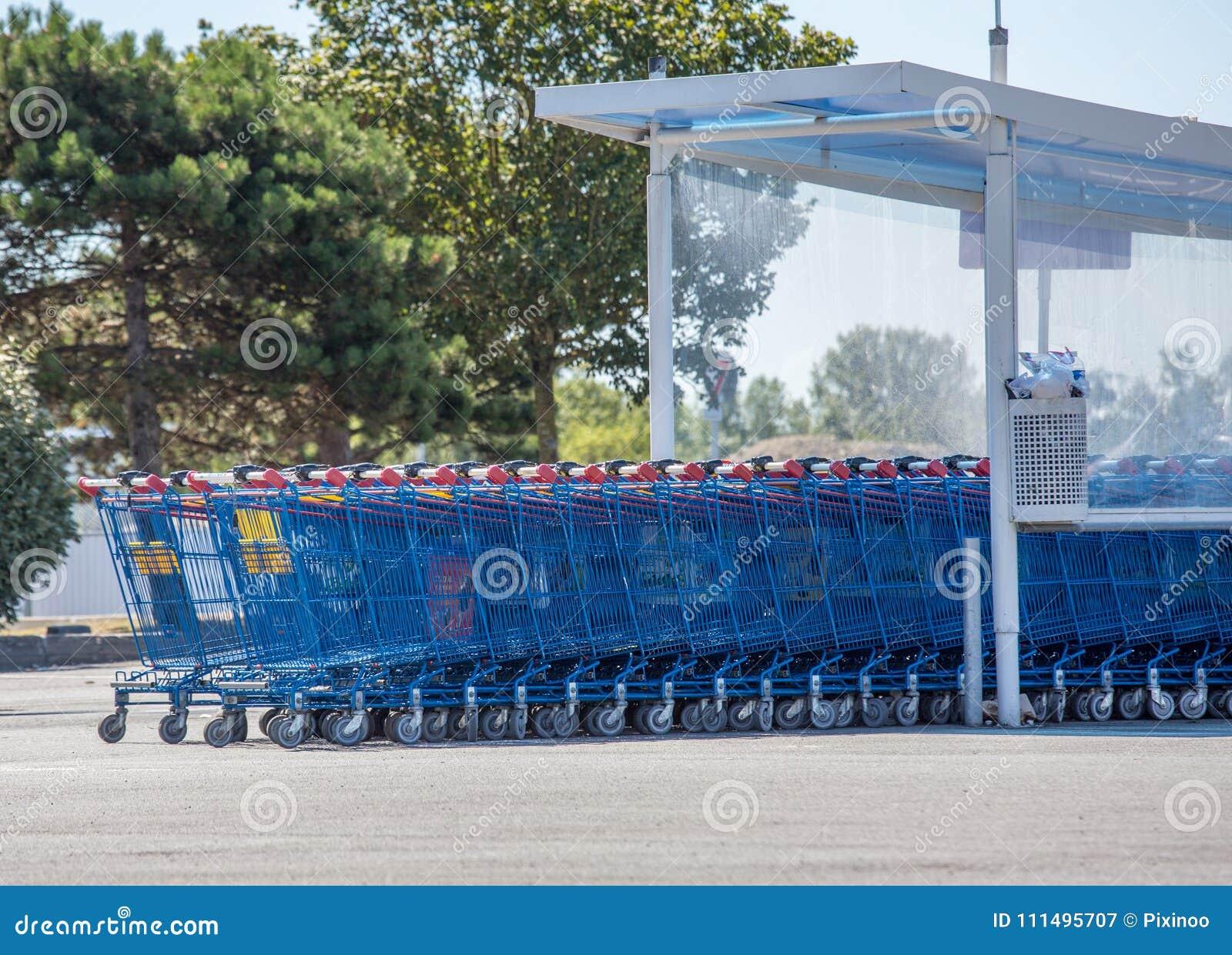 Supermarketów wózek na zakupy Francuski gatunek hiper- U
