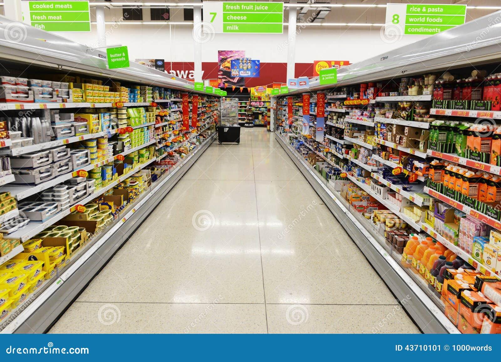 supermarket aisle view editorial photo image 43710101. Black Bedroom Furniture Sets. Home Design Ideas