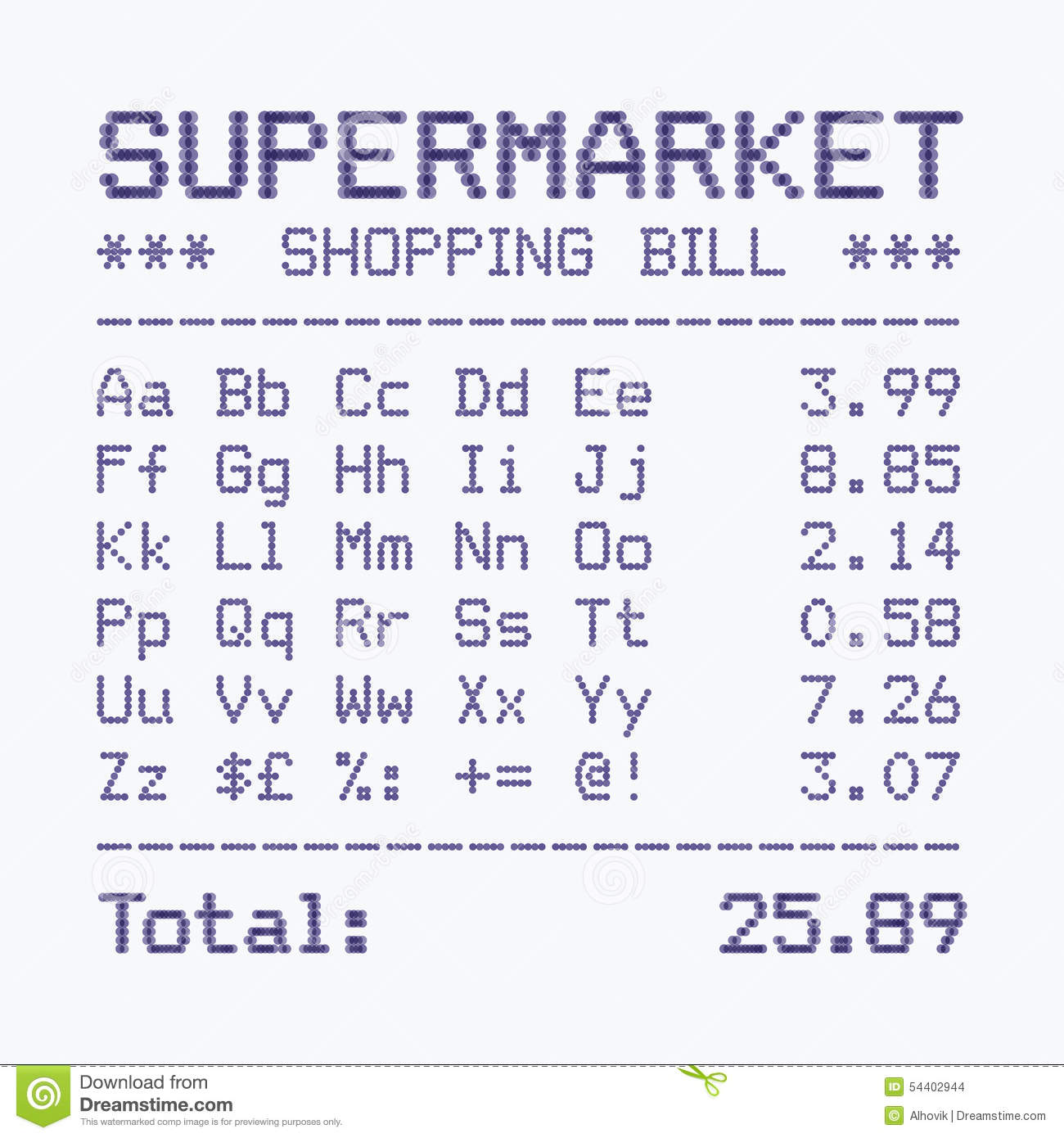 Supermarket Bill Font, Alphabet And Numbers Stock Vector