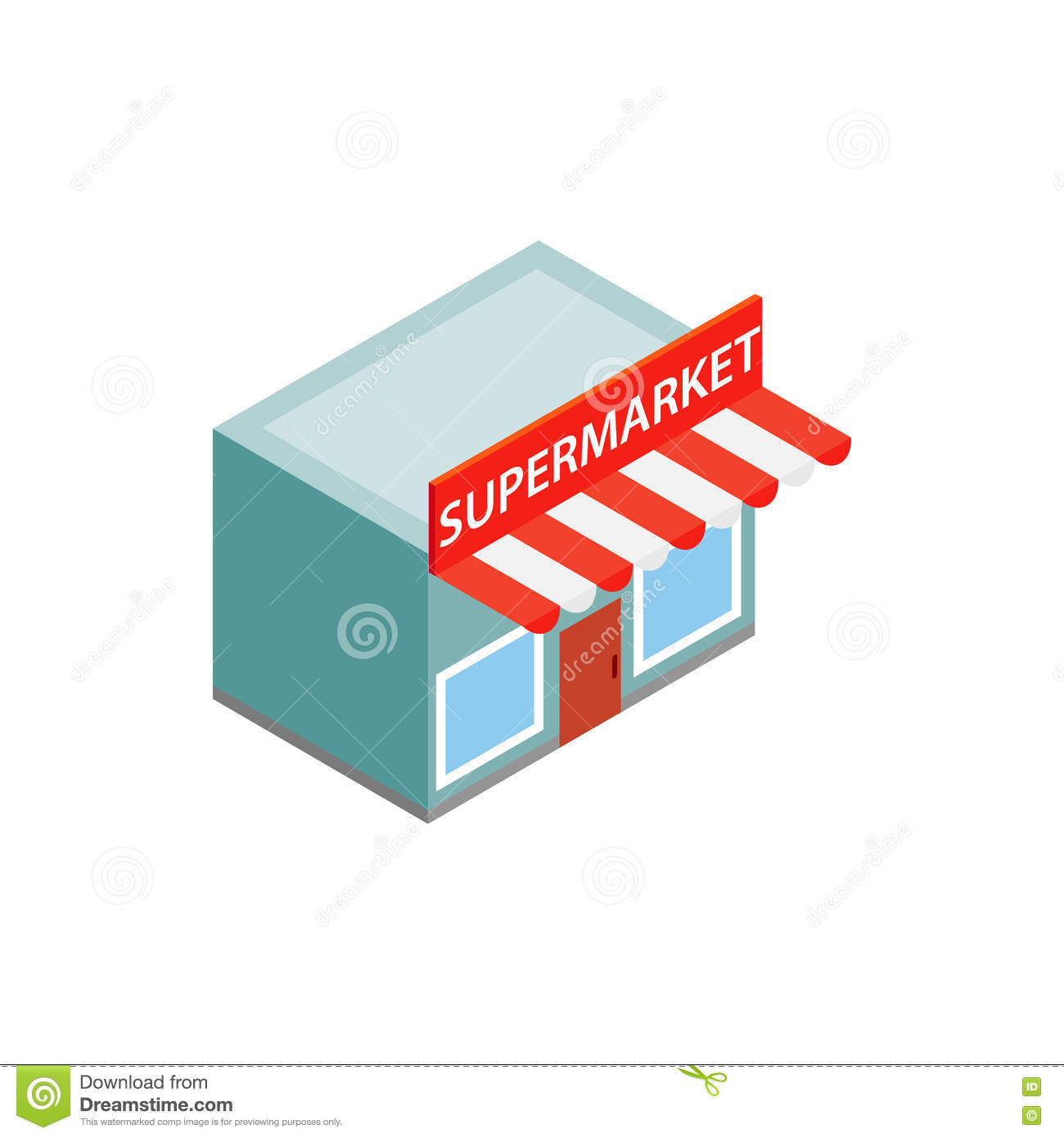 Supermarket Building Icon Isometric 3d Style Stock Vector