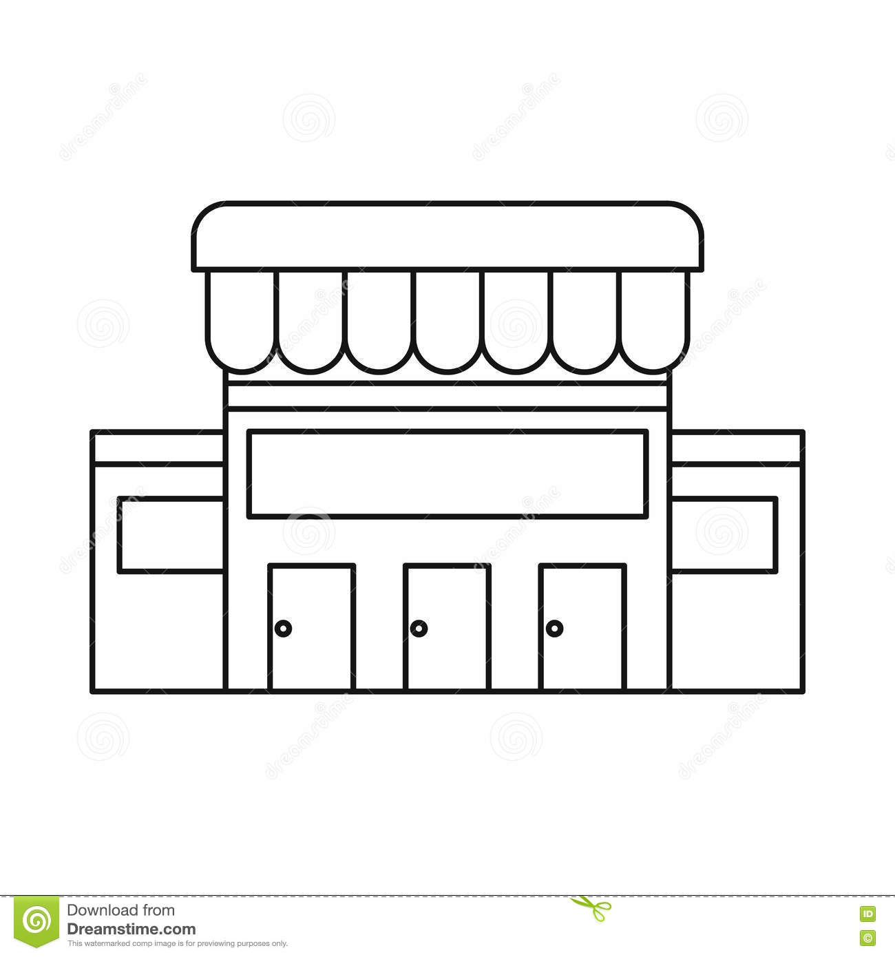 Supermarket Building Icon Outline Style Stock Vector