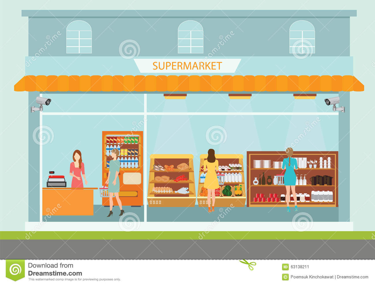 Supermarket Building And Interior With People Buying