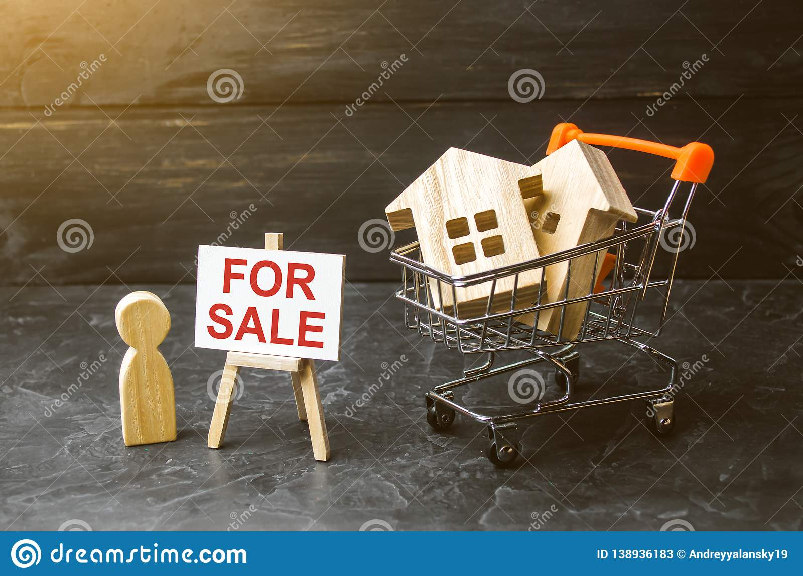 Supermarket cart with houses and man with a poster for sale. The concept of selling a home, real estate services or buying from