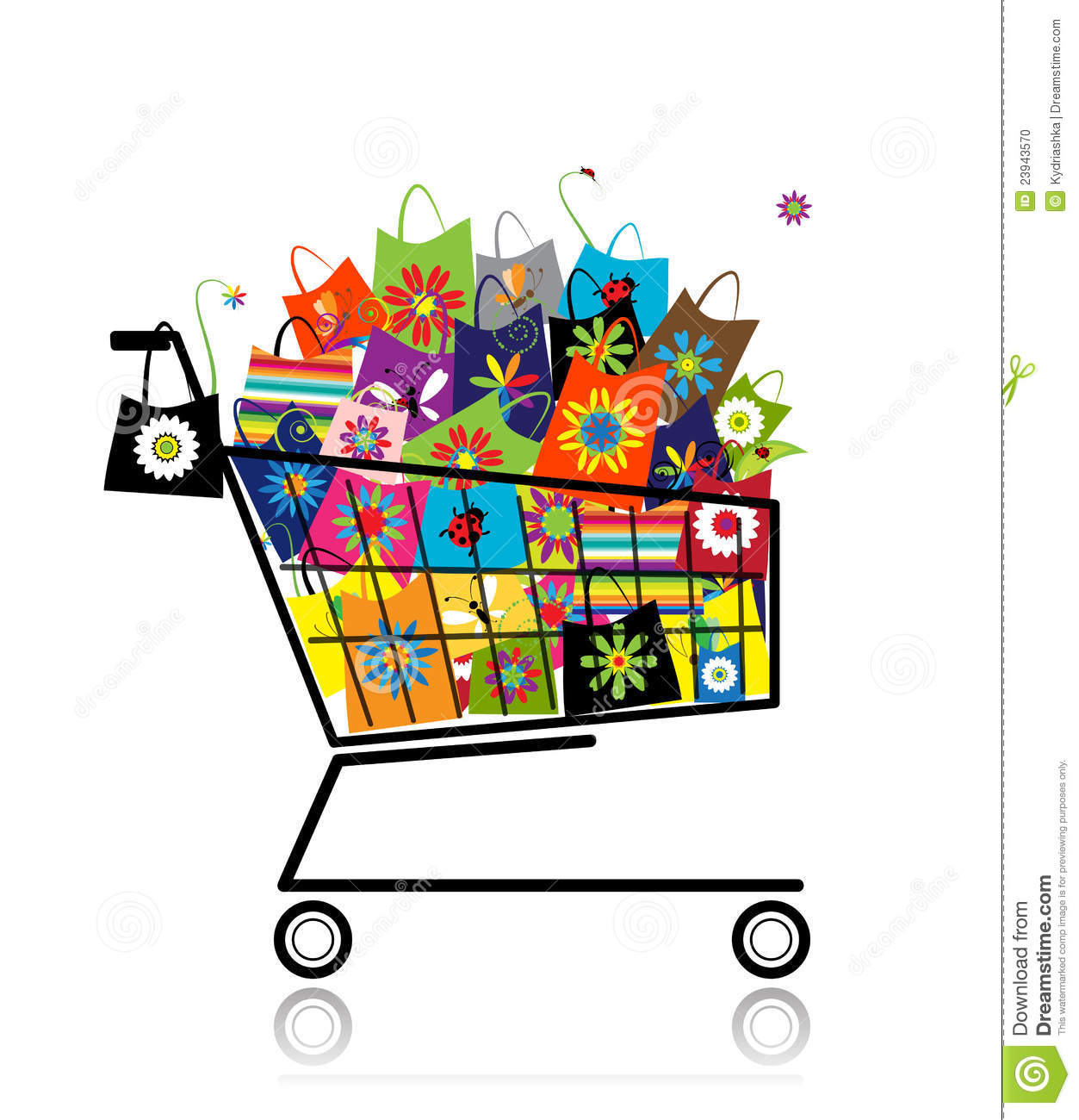 More similar stock images of ` Supermarket cart with shopping bags `