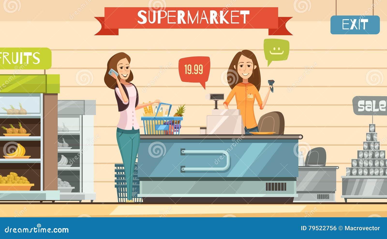 Cashier Cartoons: Supermarket Cashier At Register Retro Cartoon Poster Stock