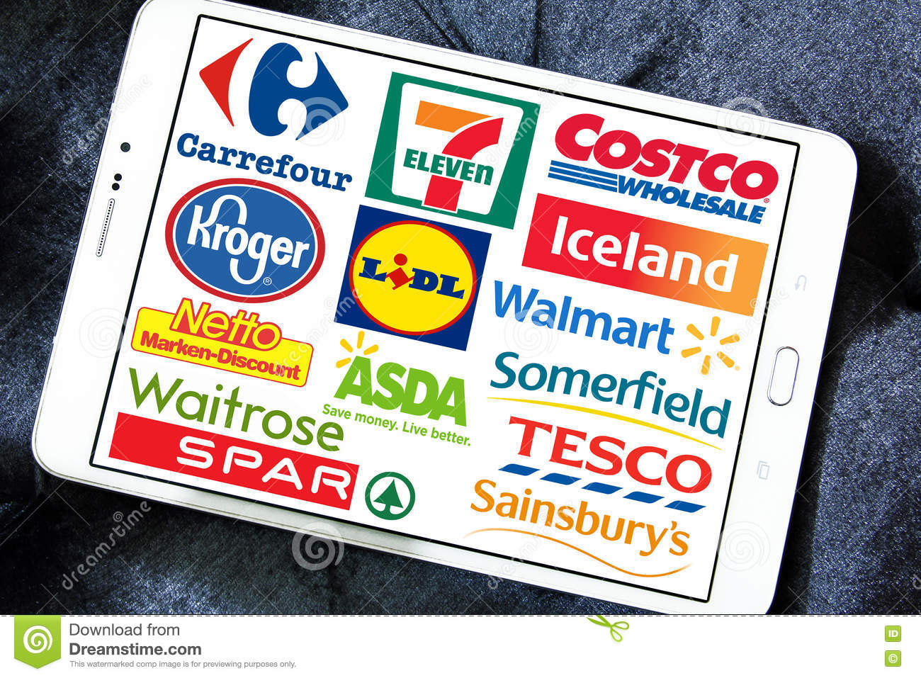 Supermarket Chains And Retail Brands And Logos Editorial