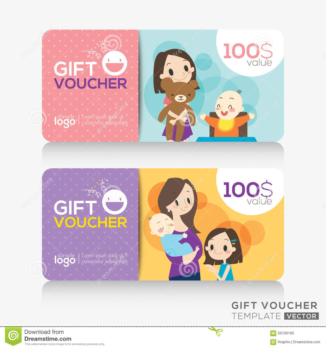kids store coupon voucher or gift card design template stock vector