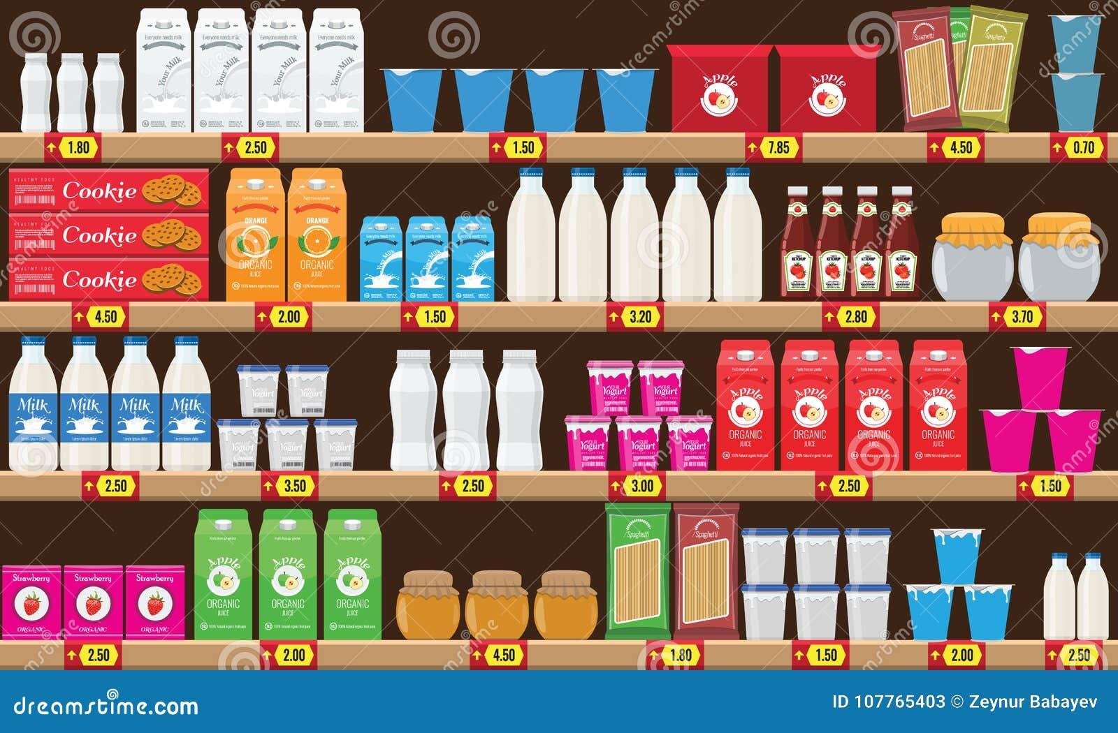 Supermarket, hyllan med mat och drinkpacken boxas Prislapp på kuggar Illustration med design för plan och fast färg