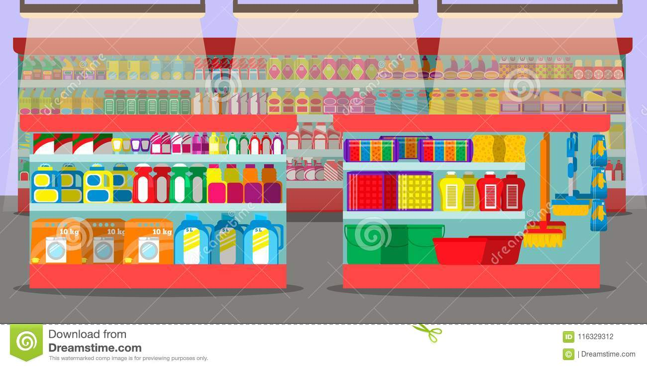 Supermarket Interior With Different Sections. Stock Vector ...