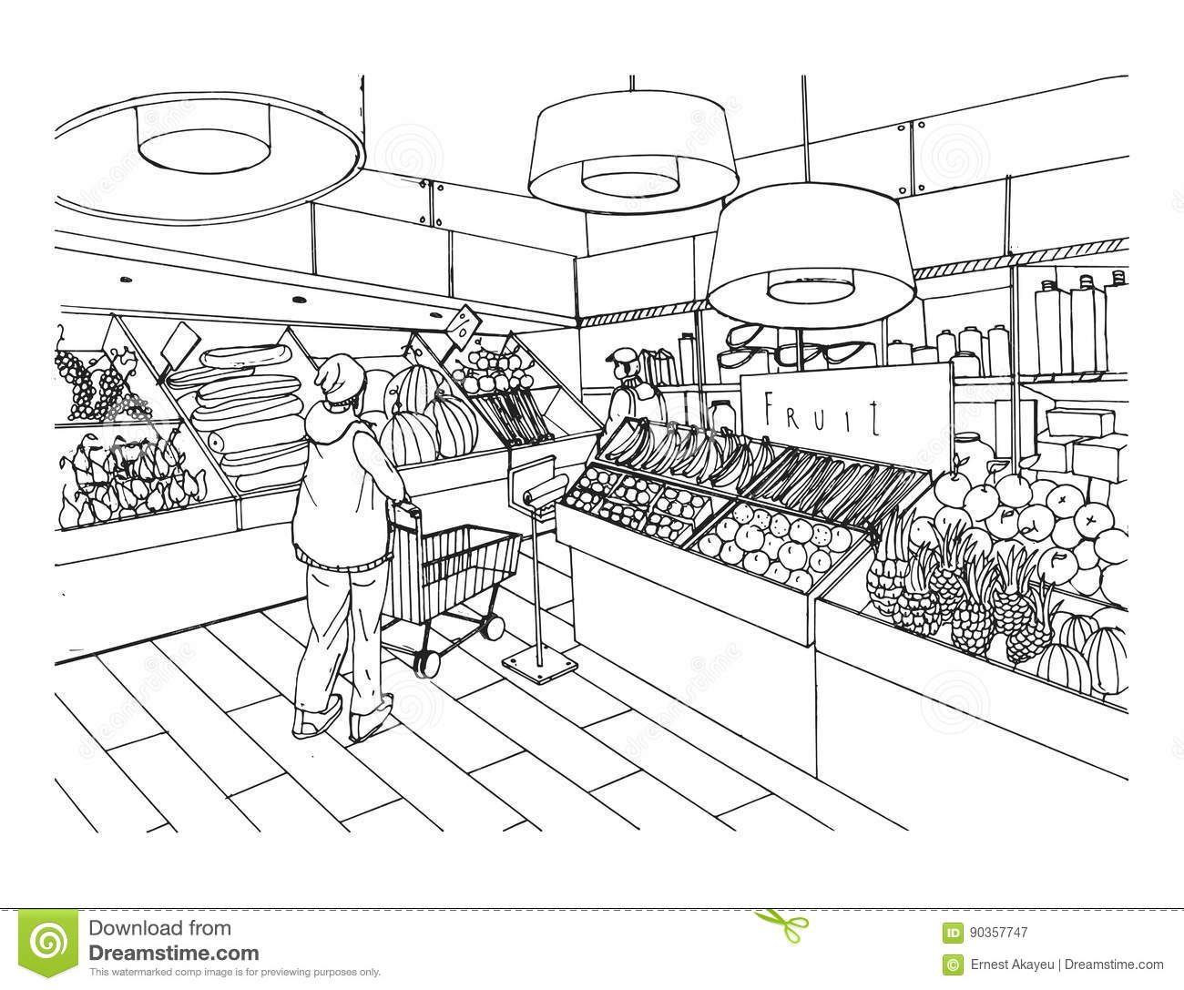Supermarket Interior In Hand Drawn Style. Grocery Store ...
