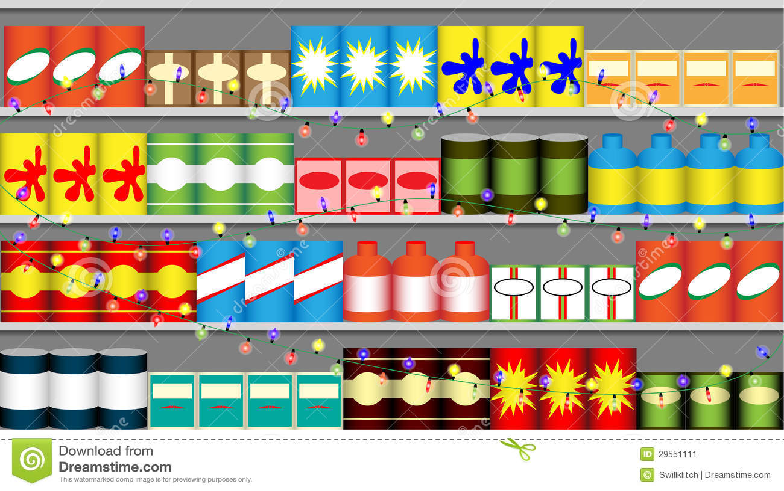 Supermarket półki z girlandami