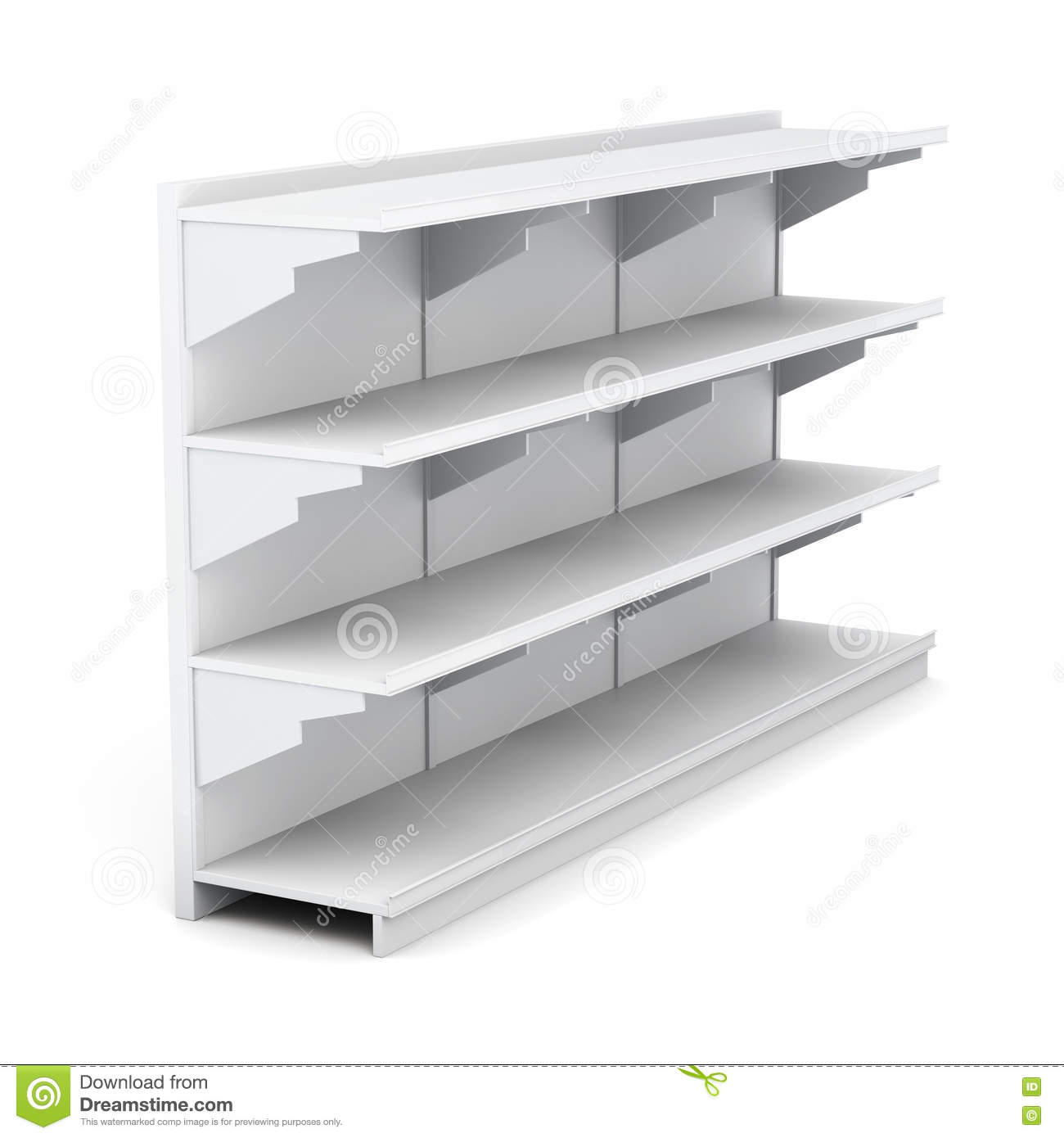 Exhibition D Vector : Supermarket rack with empty shelves on white background