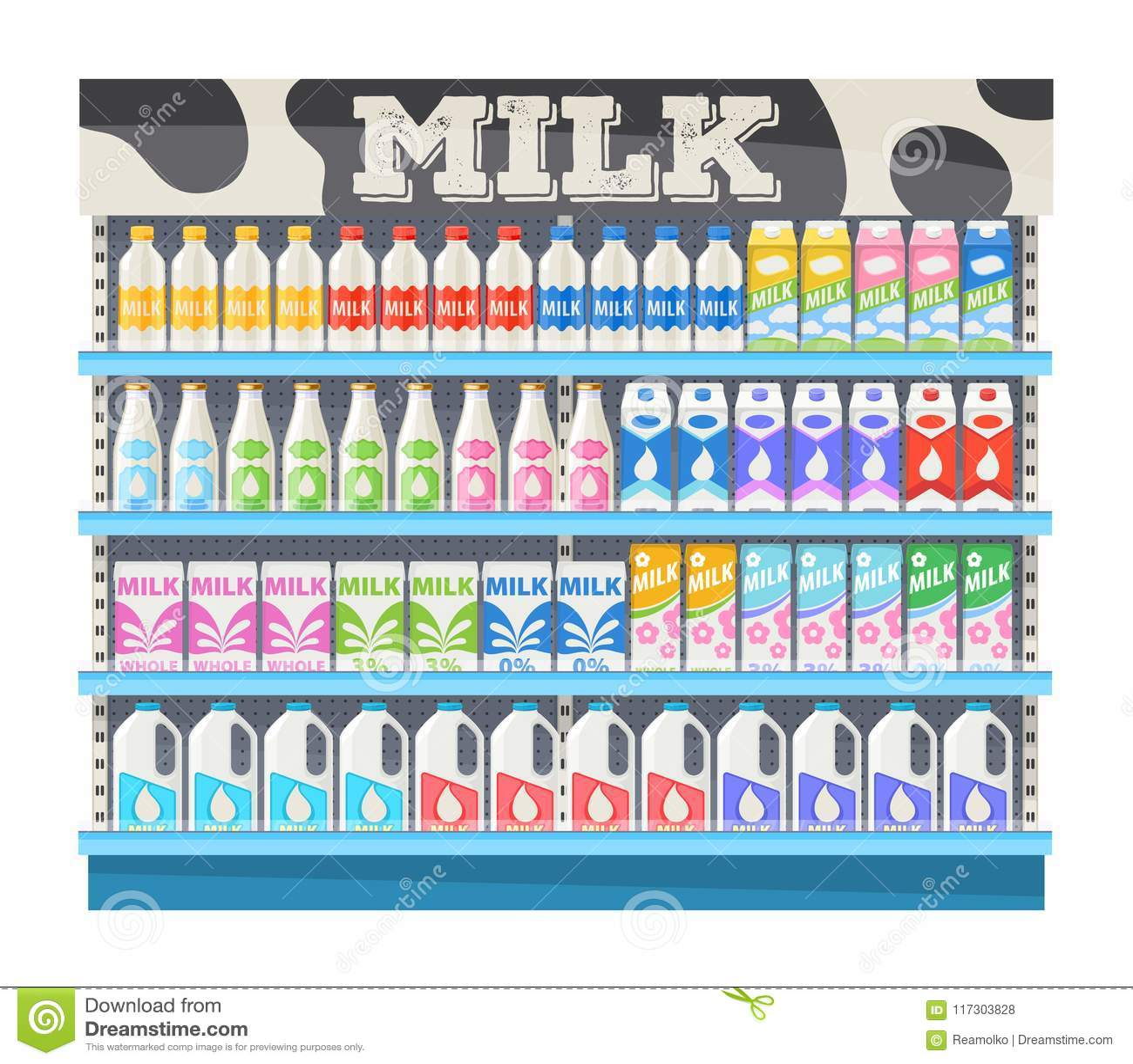 supermarket shelf display with milk stock vector illustration of