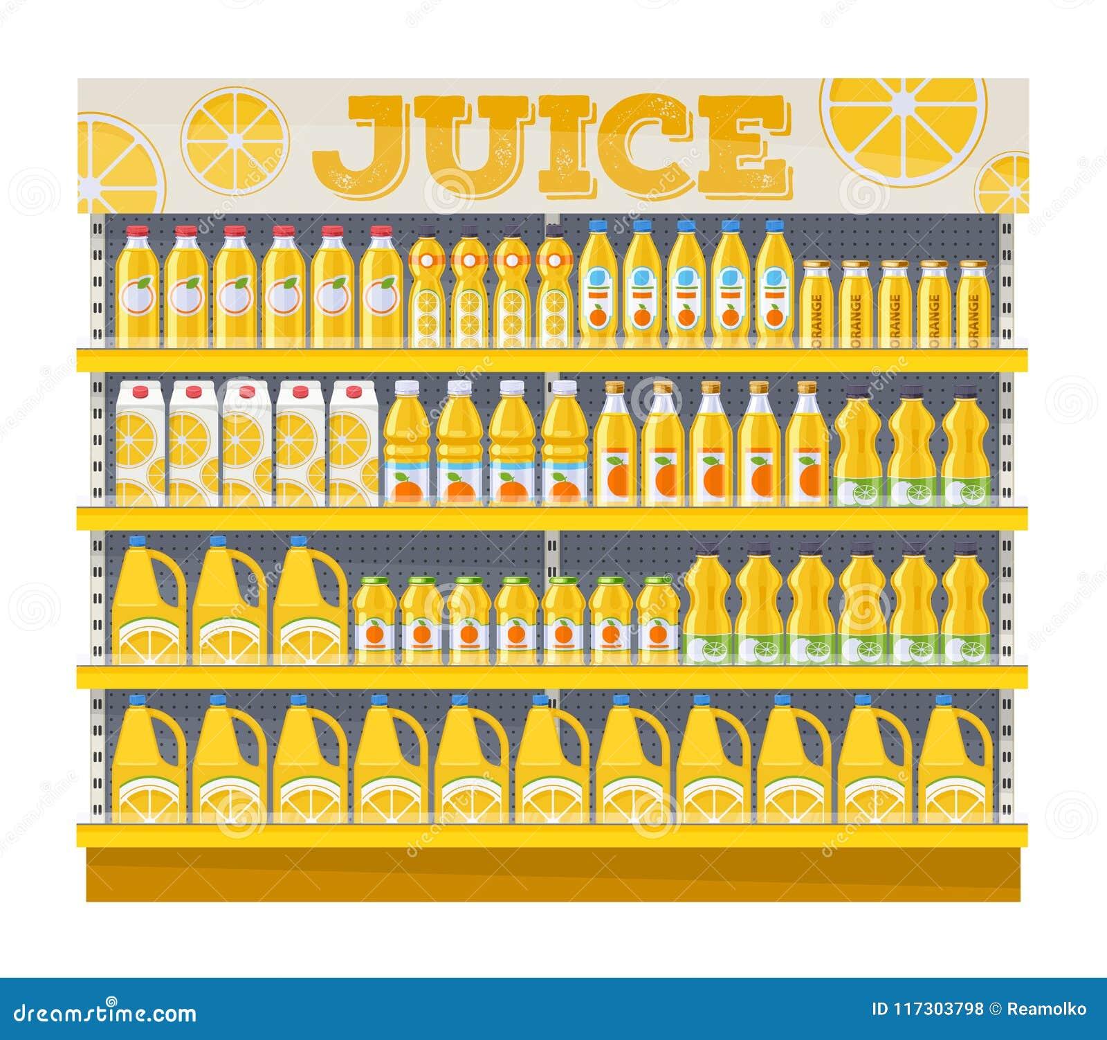 supermarket shelf display with orange juice stock vector