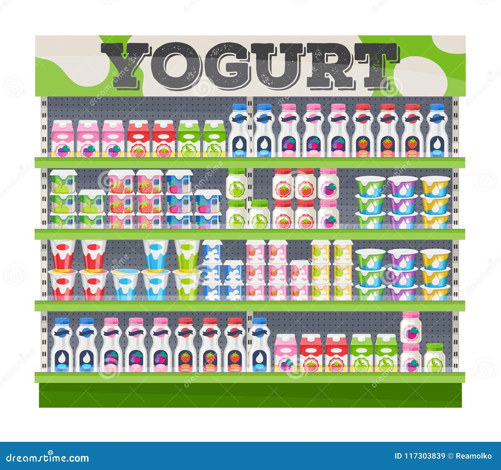 supermarket shelf display with yogurt stock vector illustration