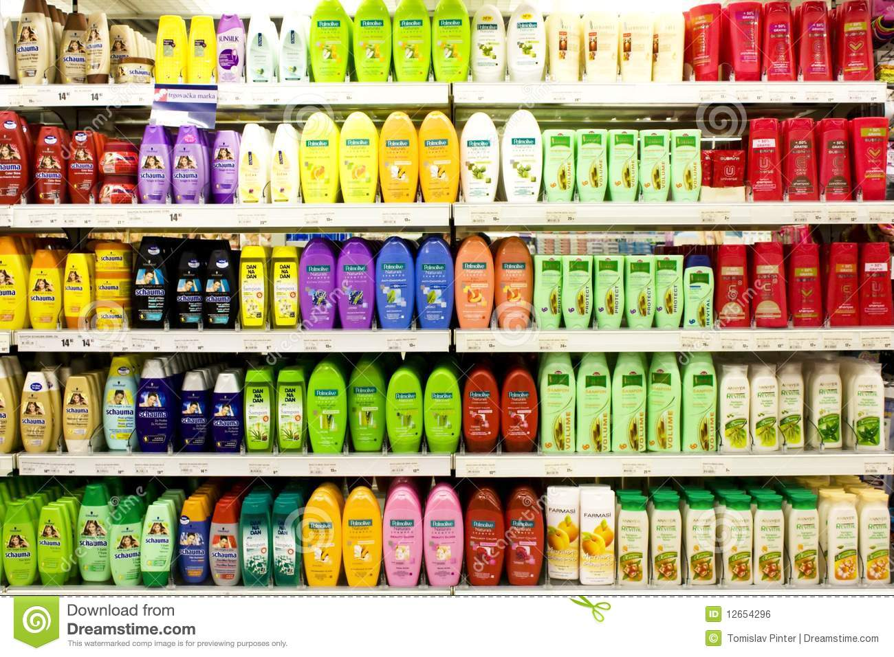 Supermarket shelf with shampoos, hair regenerators, etc, including ...