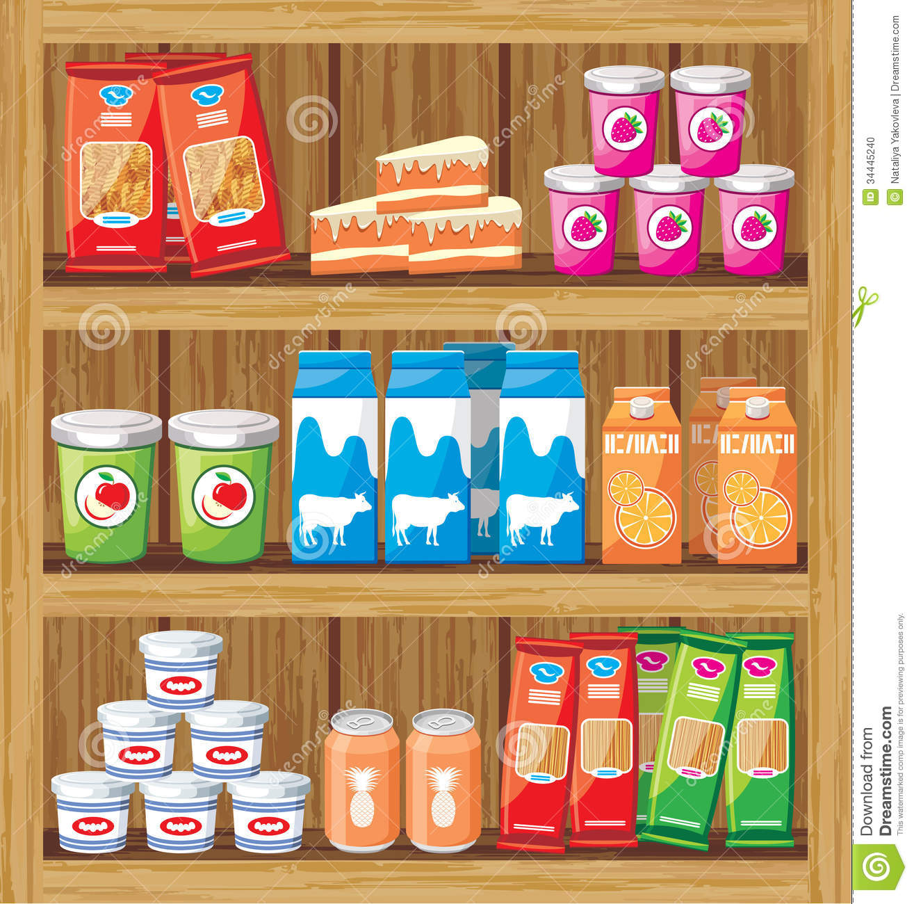 Supermarket Shelfs With Food Stock Vector Illustration