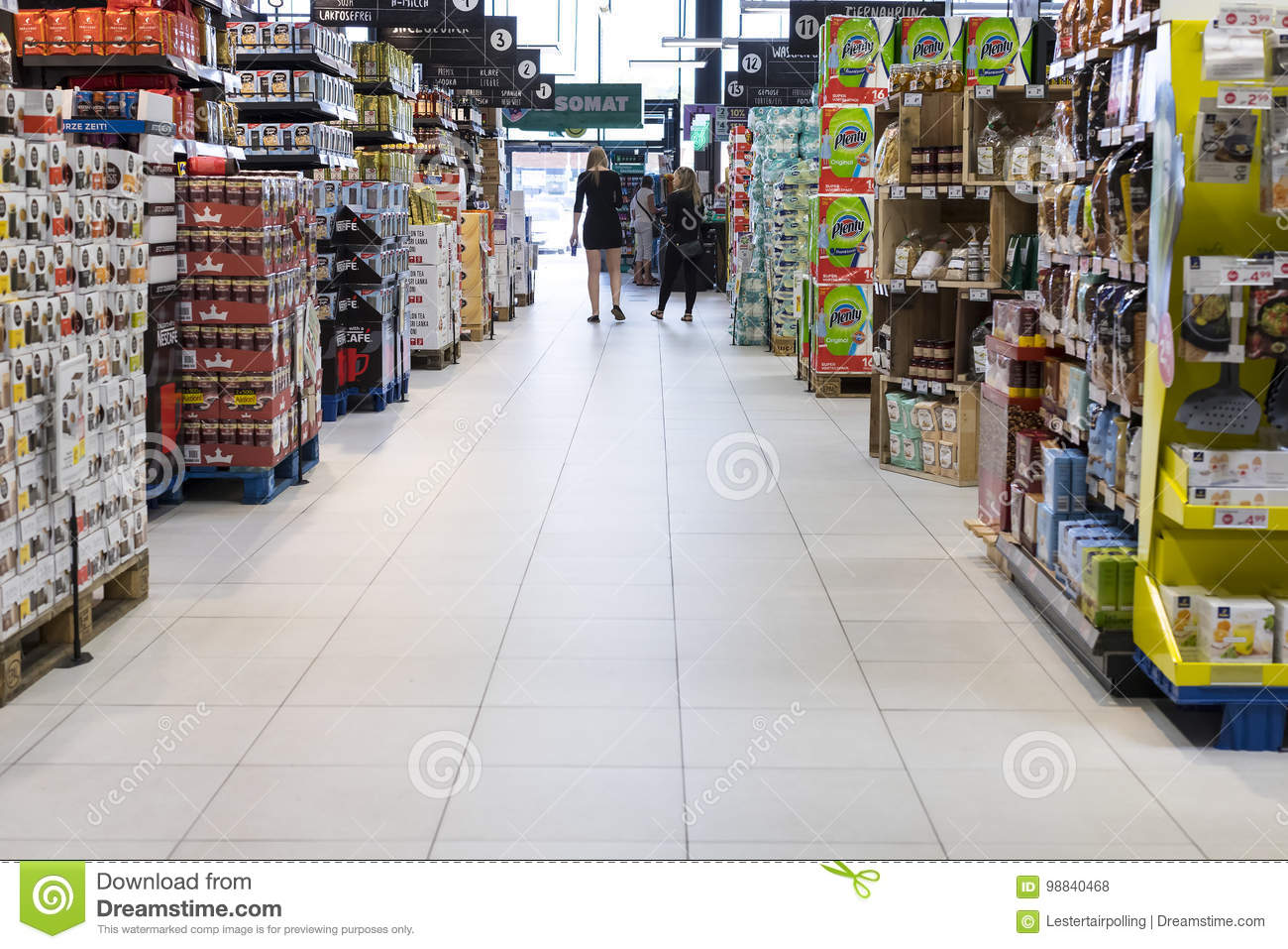 Supermarket With Shelves Of Food And Beverages Merkur In