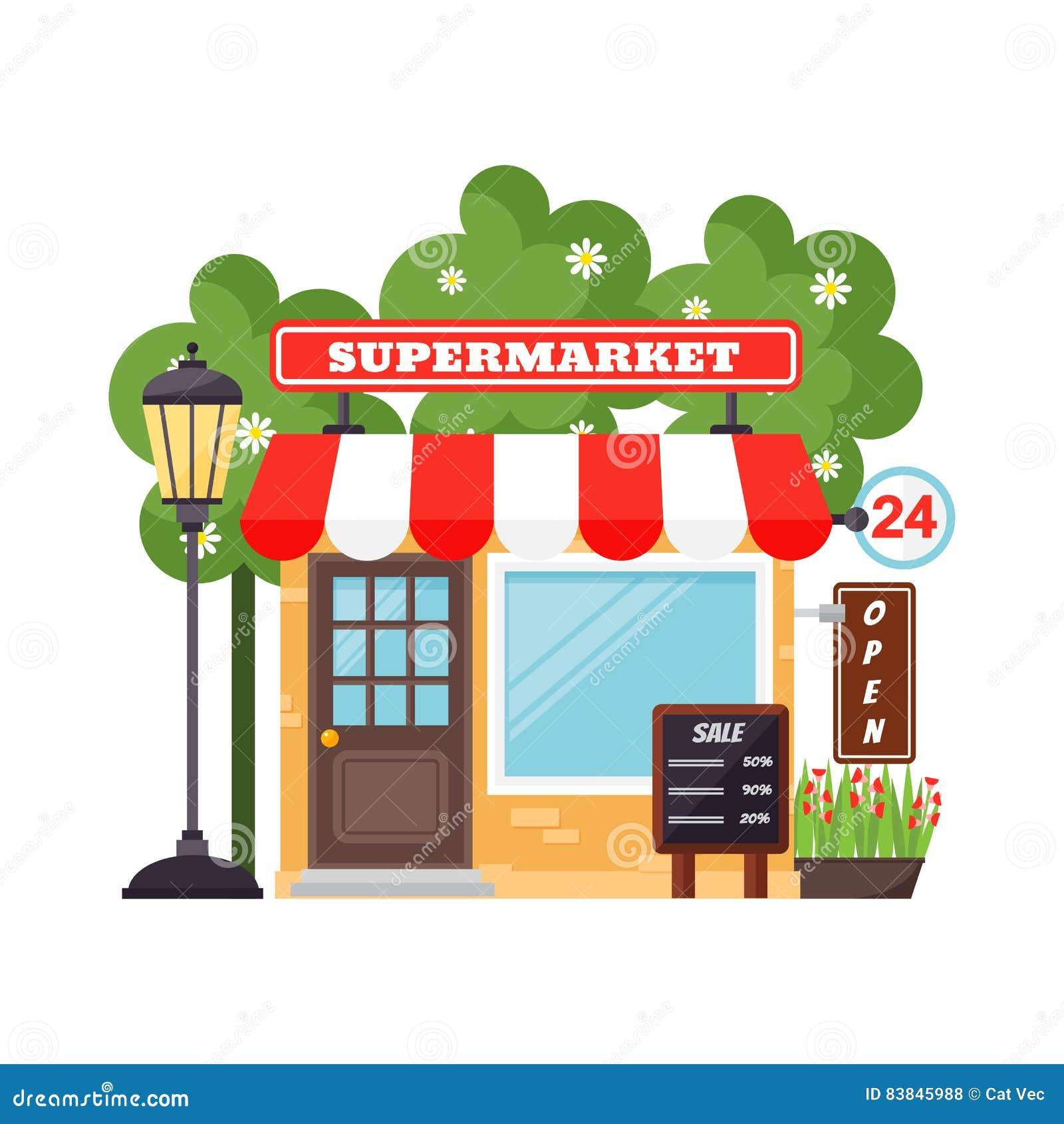 Supermarket Shop Facade Vector Stock Vector