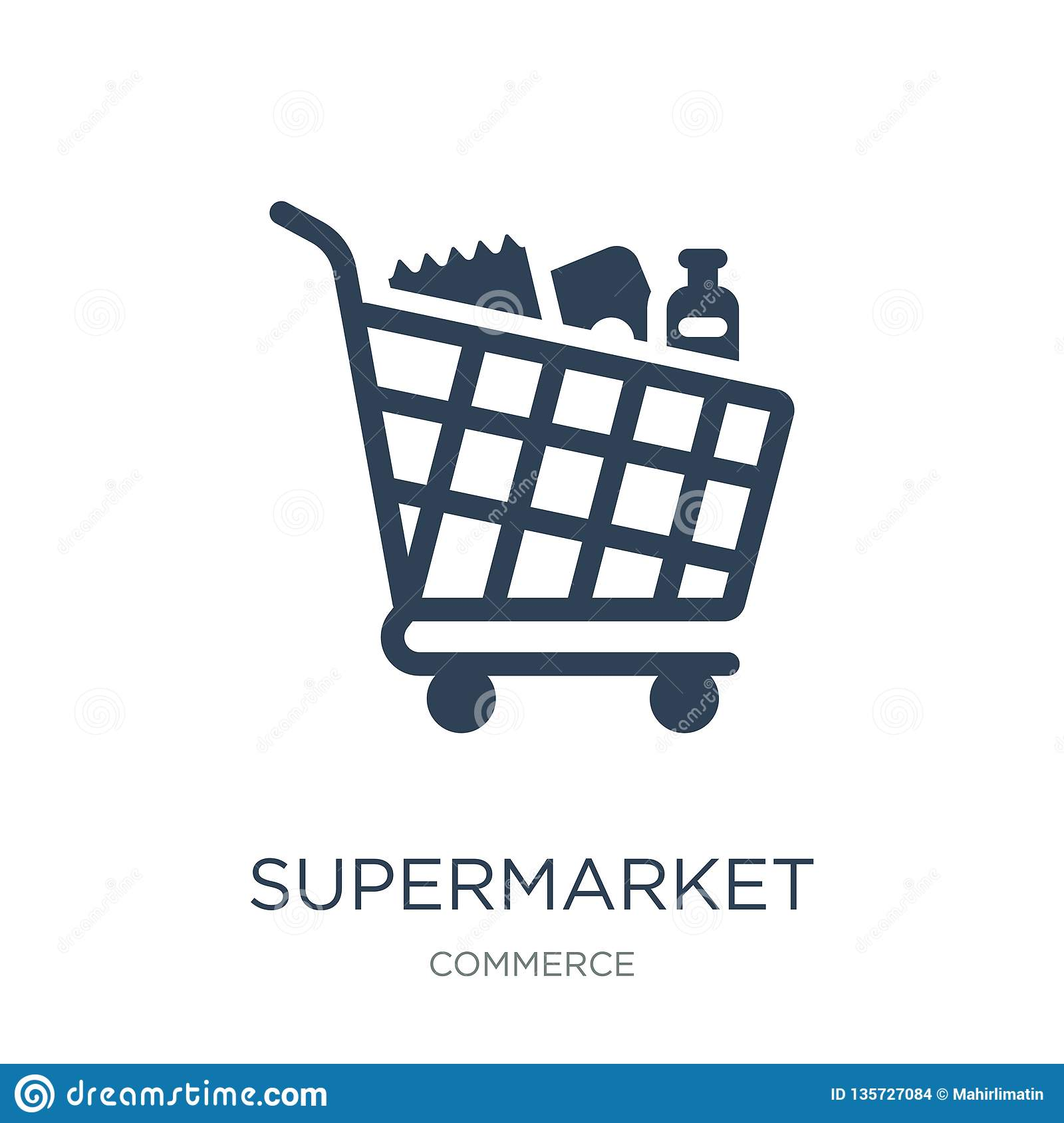 supermarket shopping cart icon in trendy design style. supermarket shopping cart icon isolated on white background. supermarket
