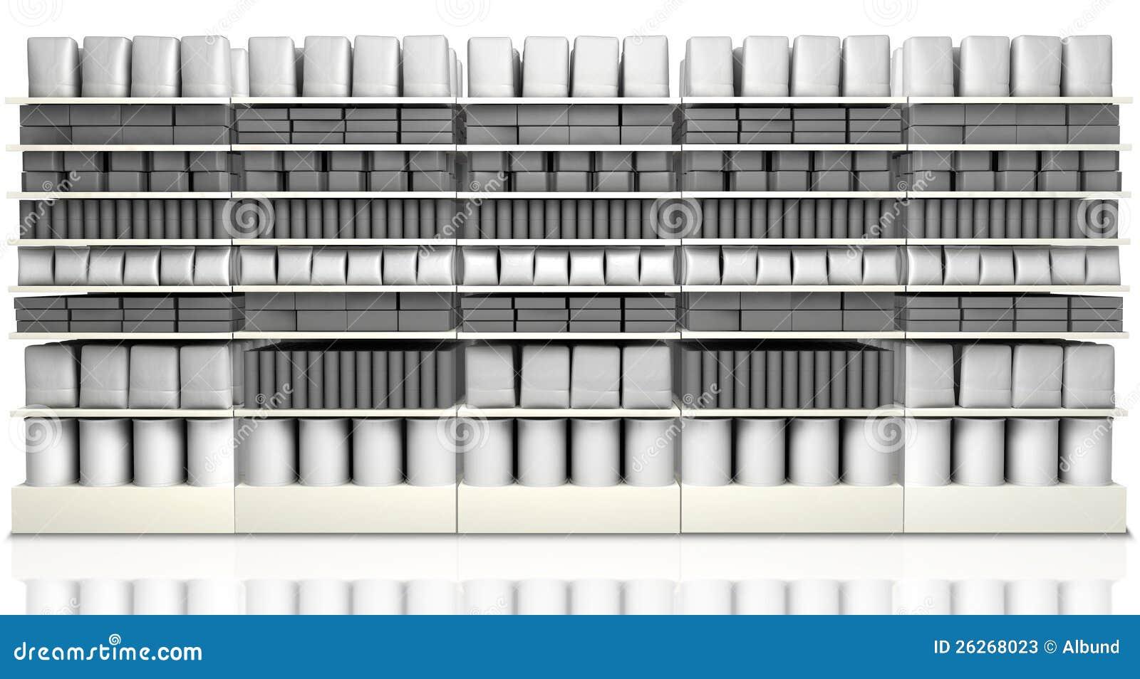 Supermarket som bordlägger med generiska produkter