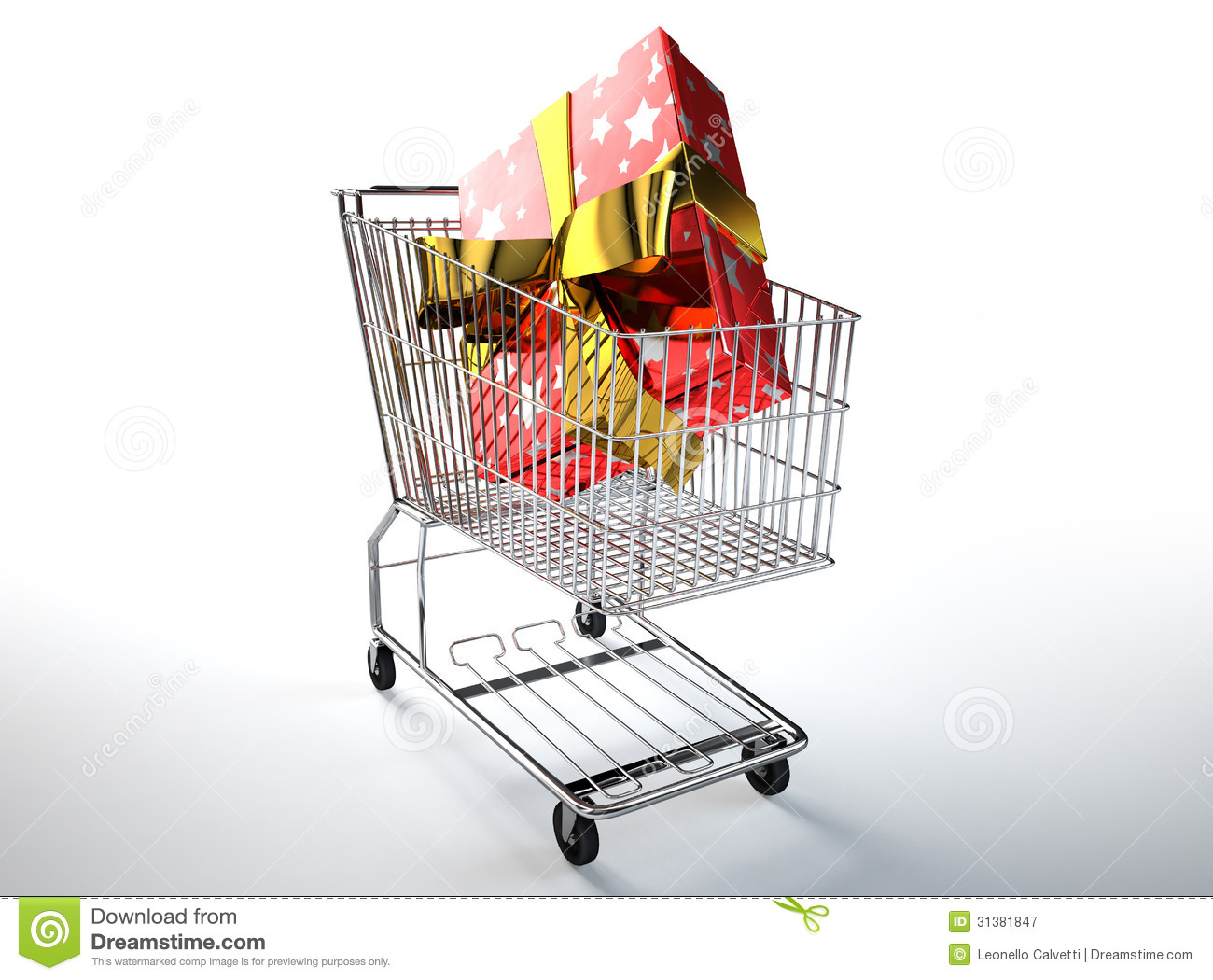 Supermarket Trolley With A Huge Gift Inside Royalty Free