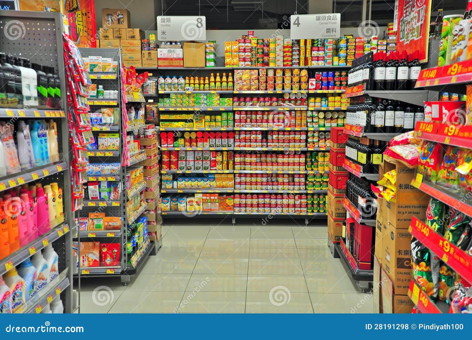 Supermarketgång Hong Kong