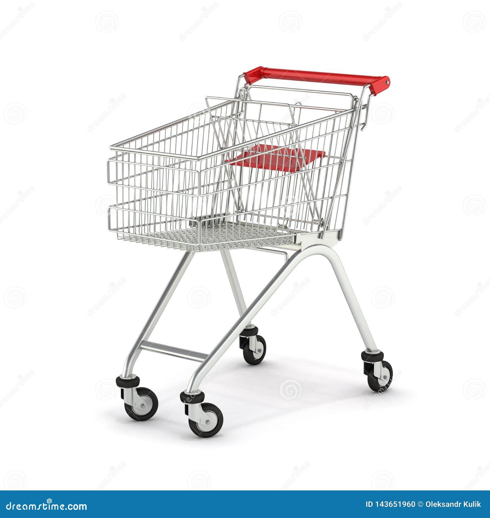 Supermarktboodschappenwagentje op witte 3d die achtergrond wordt geïsoleerd