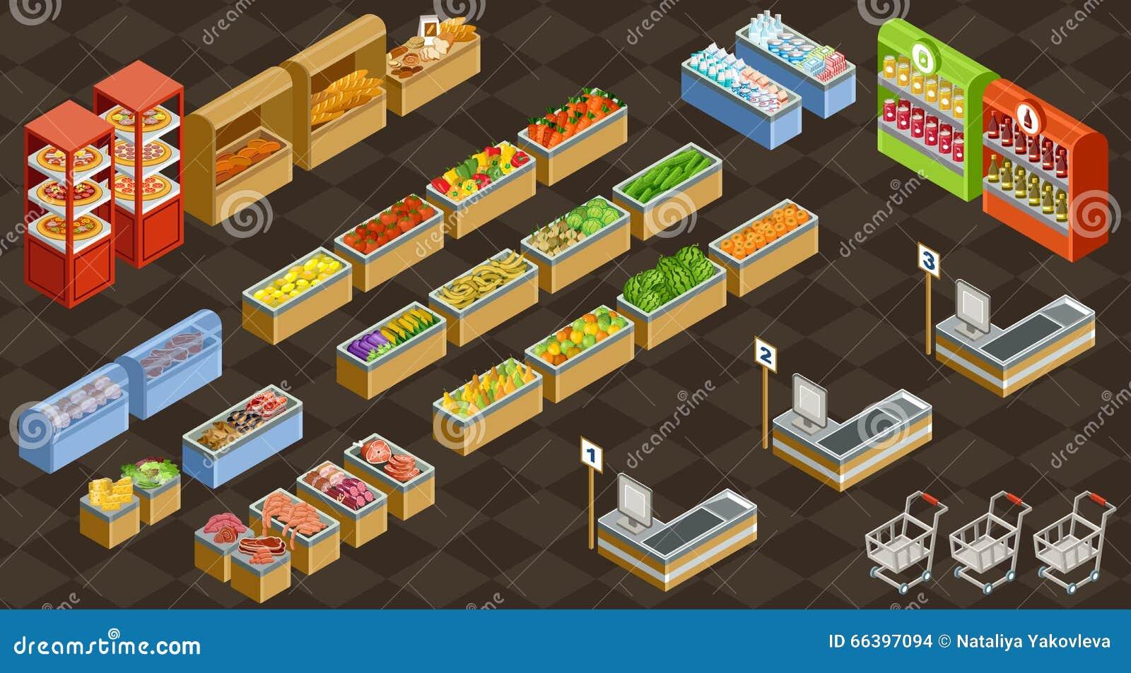Supermercado isométrico do vetor