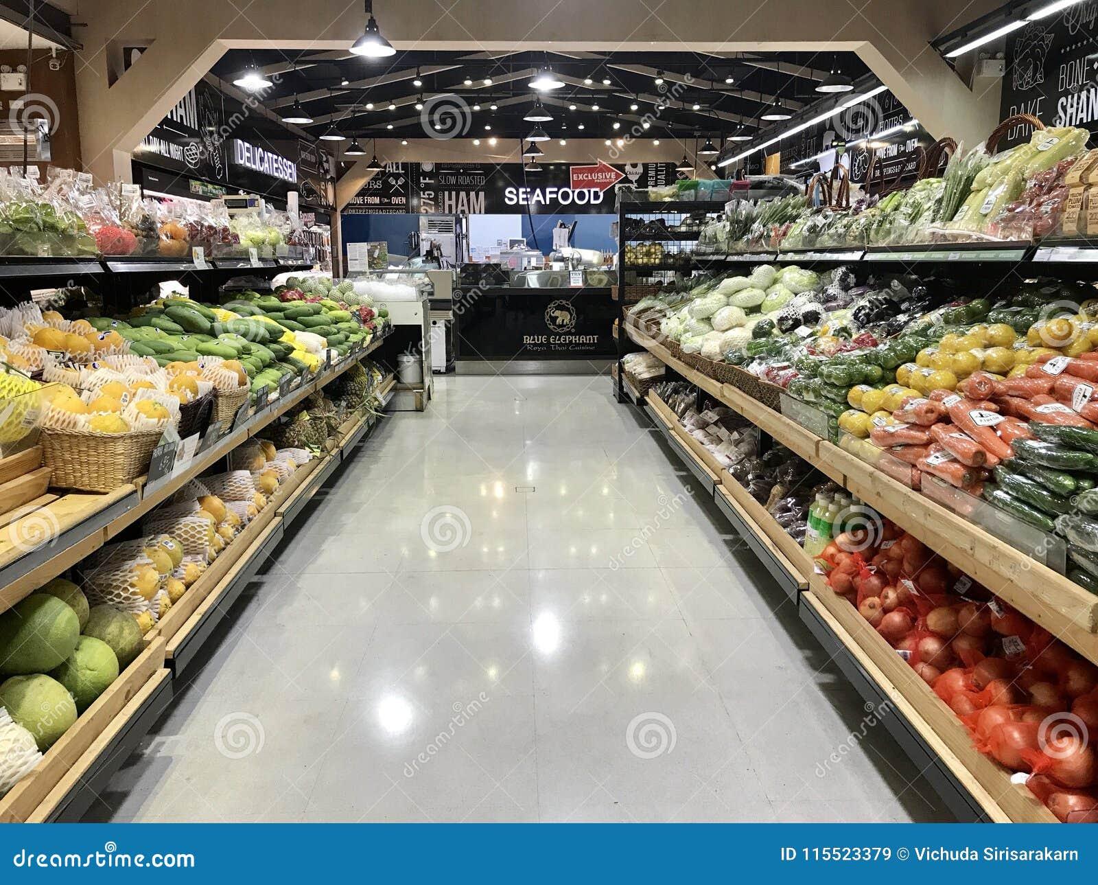 Supermercado Vendendo Frutas E Legumes Imagem De Stock Editorial Imagem De Noite Bazaar 115523379