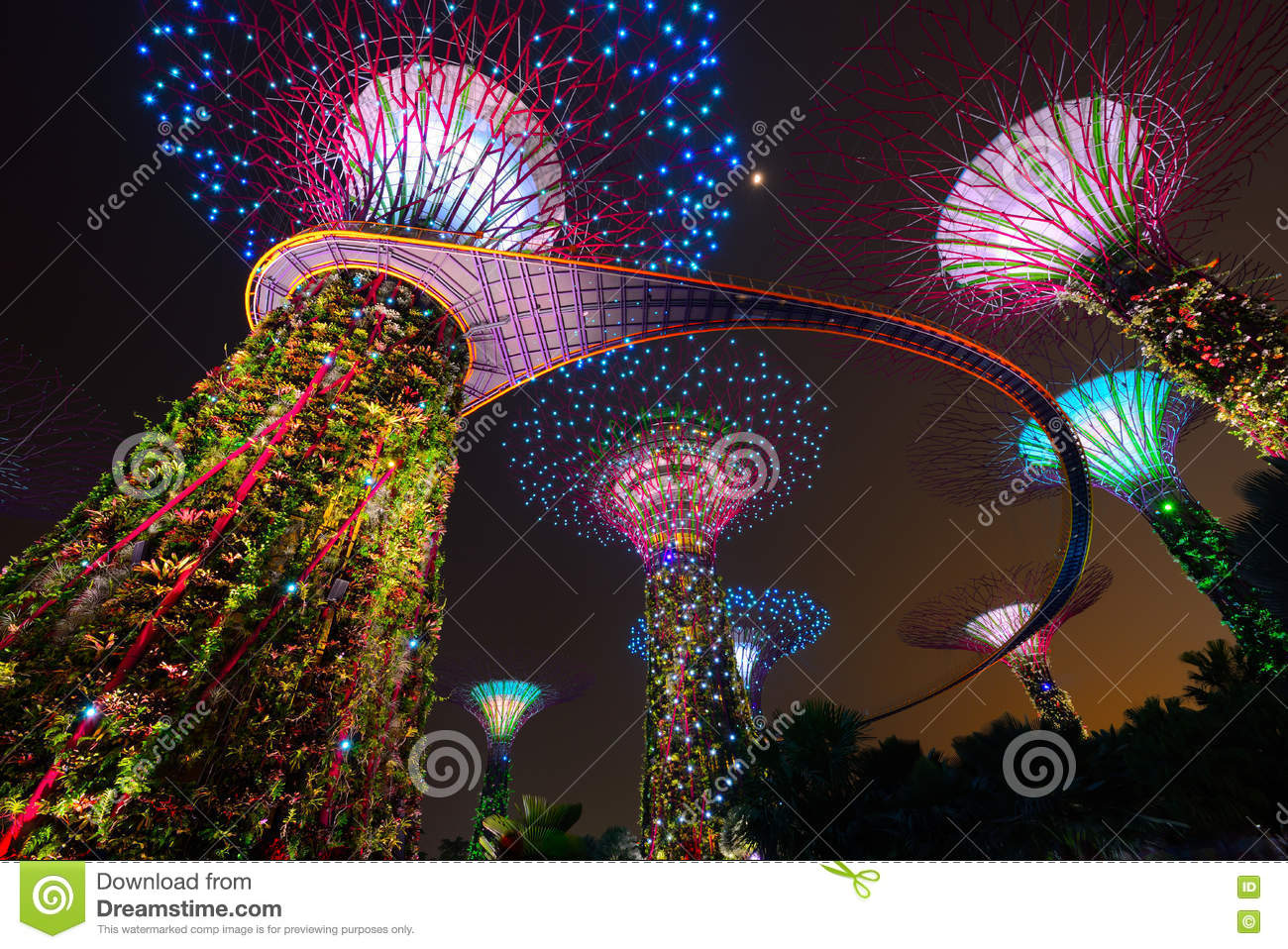 Supertree Garden At Night Garden By The Bay In Singapore Stock
