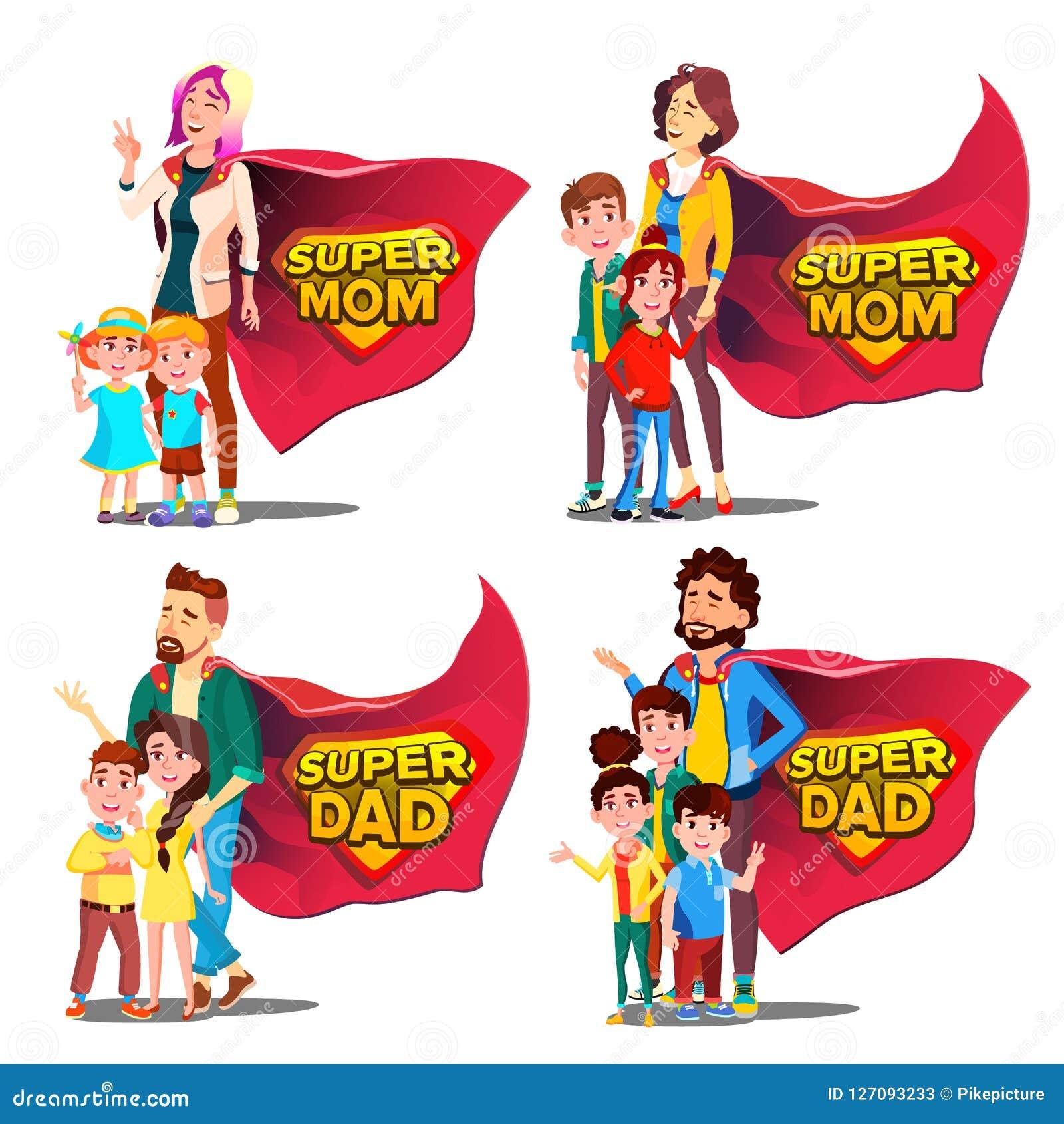 Supervati, Mutter-Vektor Mutter und Vater Like Super Hero mit Kindern Schildausweis Lokalisierte flache Karikatur Illudtration