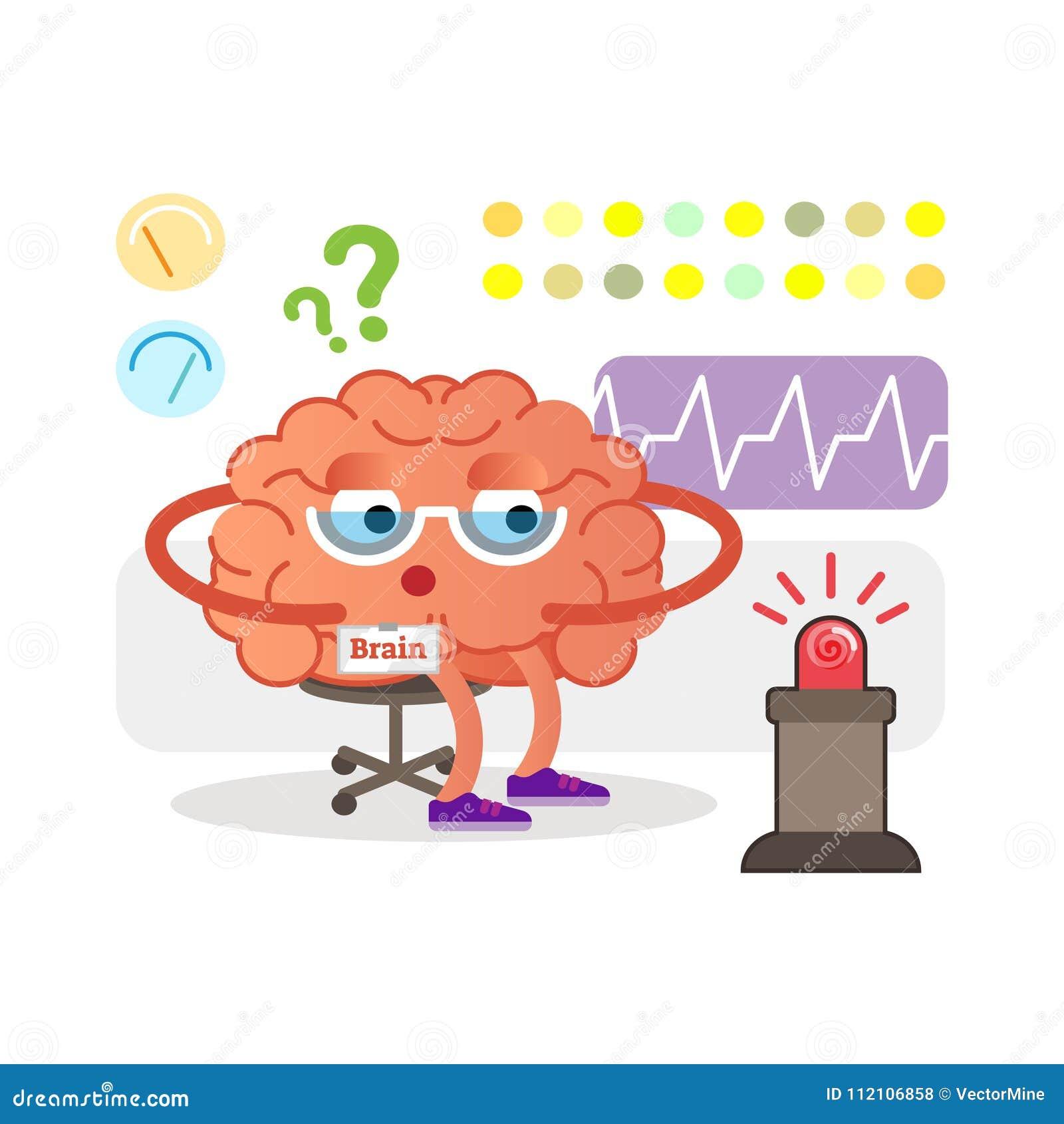 Supervisión Del Personaje De Dibujos Animados Del Cerebro Y Señales ...