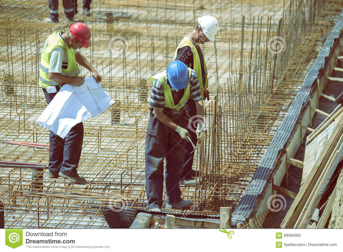 Supervisor With Blueprint 5 Editorial Stock Photo - Image of