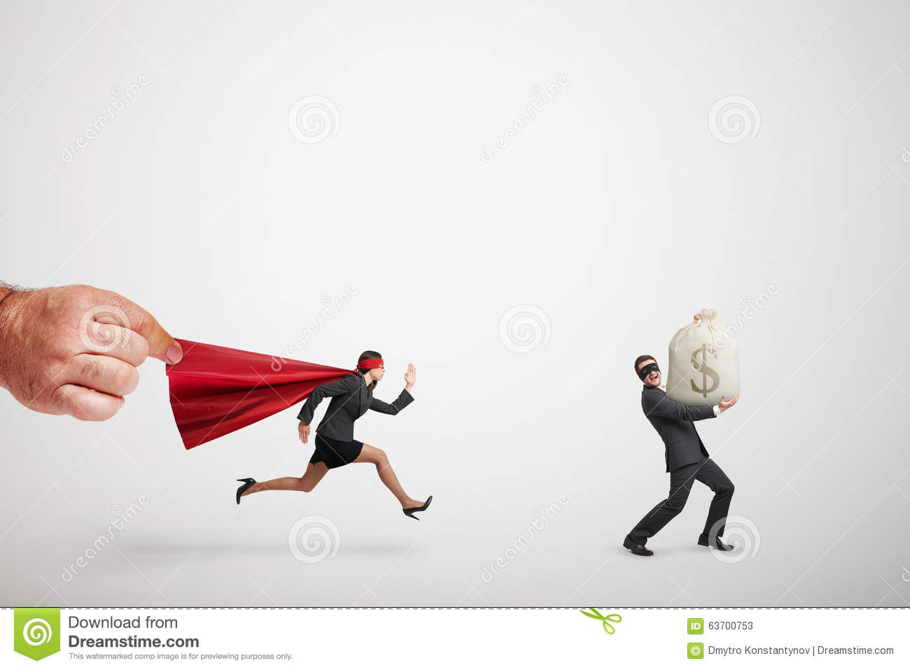 Superwoman chasing the thief with big bag of money