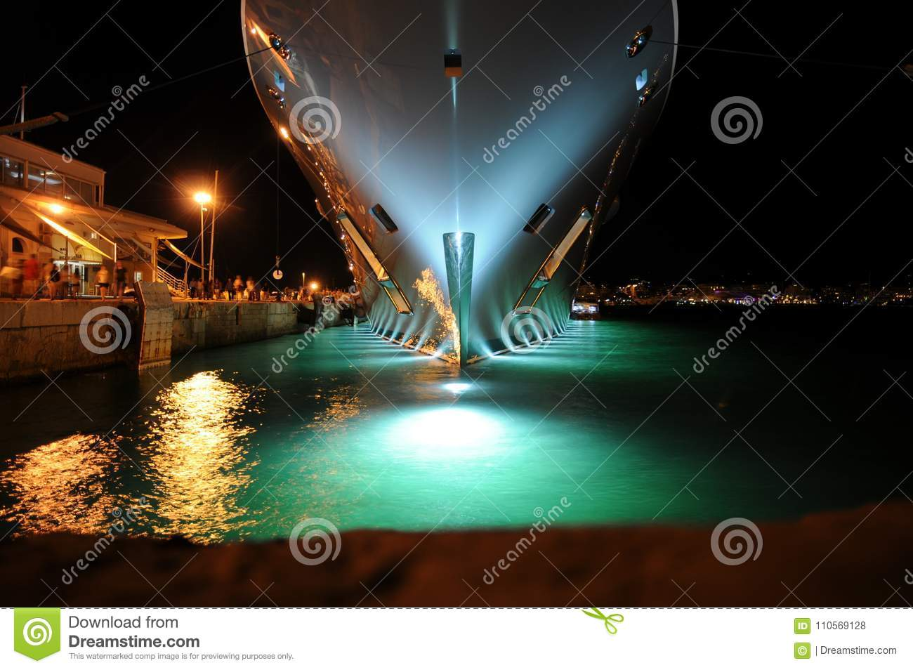 Luxury Superyacht Bow At Night In Ibiza Spain Editorial Stock Photo