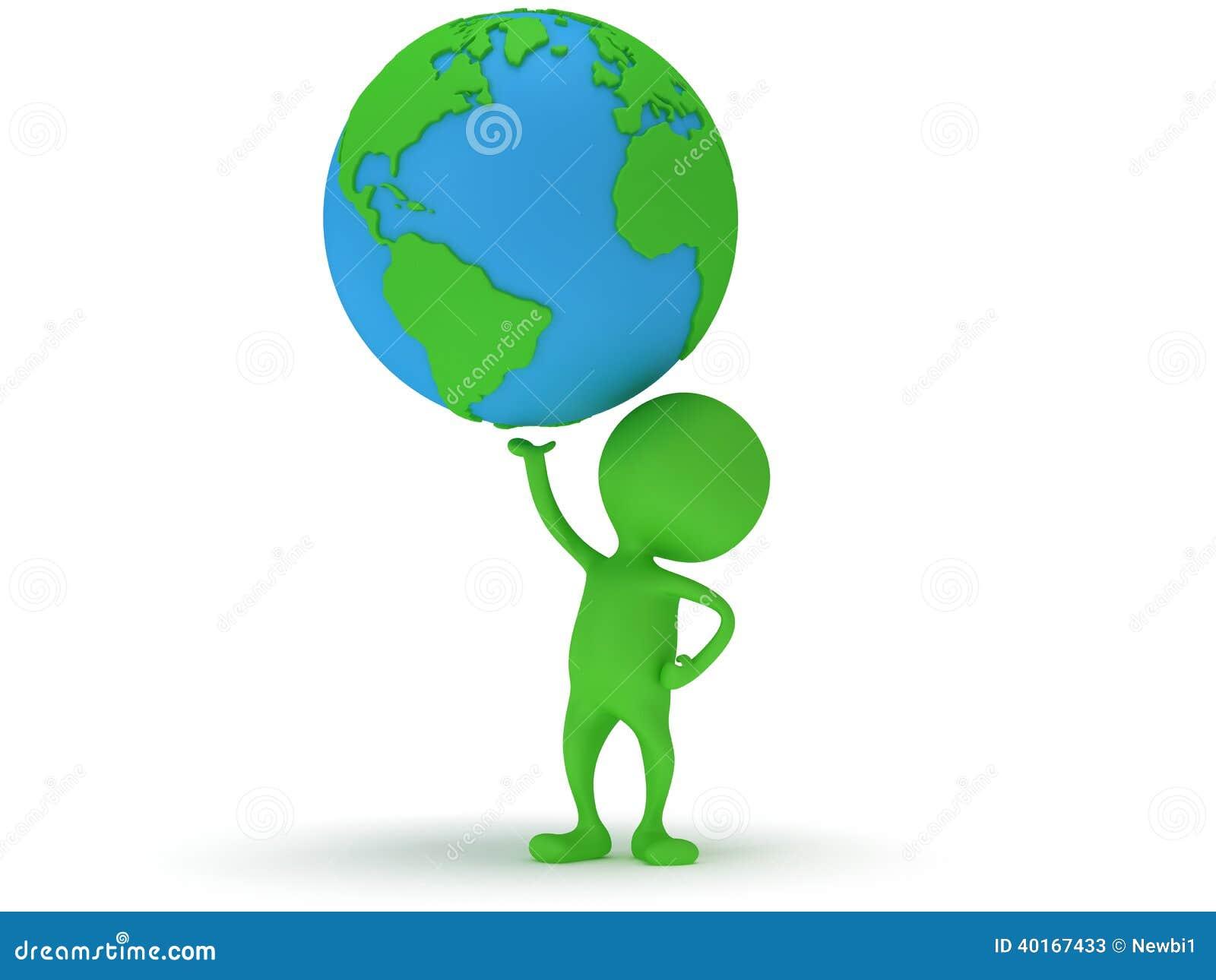 Suporte do homem 3d verde com o globo do planeta da terra ilustra o stock imagem 40167433 - Oglo o ...